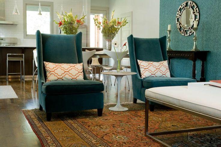 Living Room By Marcelle Guilbeau, Interior Designer, . Lee Furniture Chairs  In Velvet,