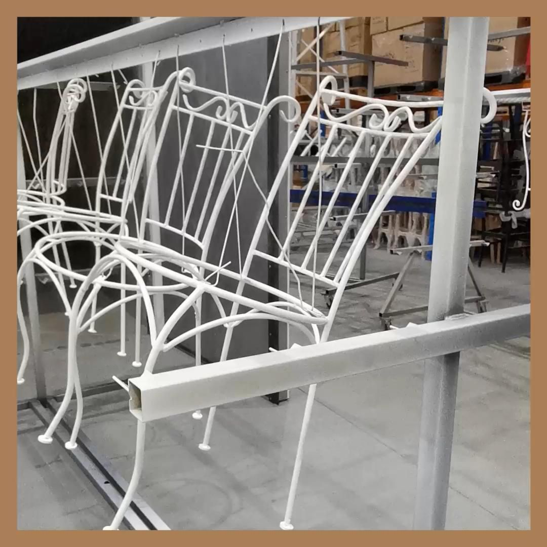 With sandblasting, and a new fresh coat of white powdercoat, these wrought iron chairs will last for another 10 years! #wroughtiron #chairs #restoringchairs #restoration #antique #powdercoat #whitepowdercoat #outdoorchairs #furniture #furniturerestoration #pakenham