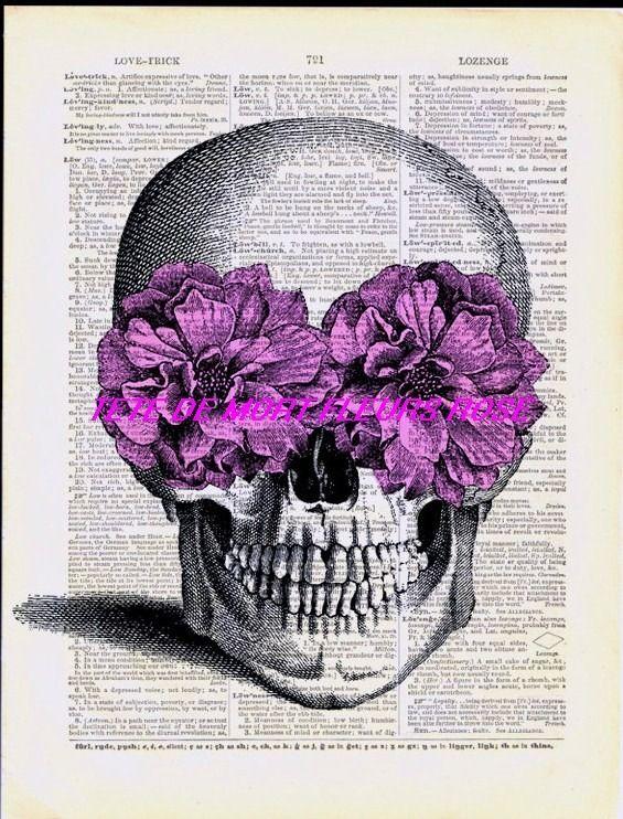Gothique transfert 13 cm x 17 cm tete de mort fleur rose - Tete de mort fleur ...