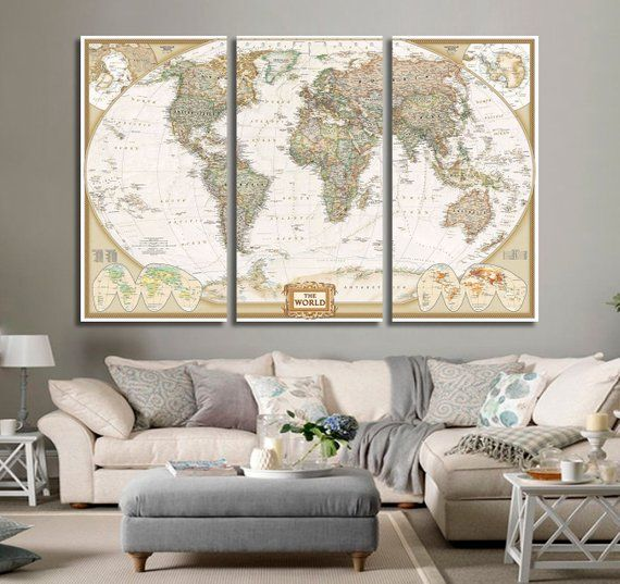 Push Pin World Map, Travel World Map, Travel Gift, World Map Canvas Print, World Map Wall Art, World Map Canvas Set, World Map Wall Decor #worldmapmural