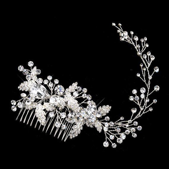 Bridal hair vine, Wedding headpiece, Rhinestone hair vine, Wedding hair piece, Crystal leaf hair vine, Wedding Hair accessories, Hair comb