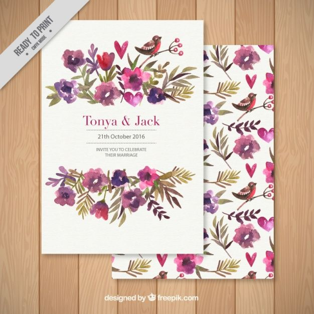 Wedding invitation decorated with a floral background free vector flower design pinterest for Wedding invitations vector
