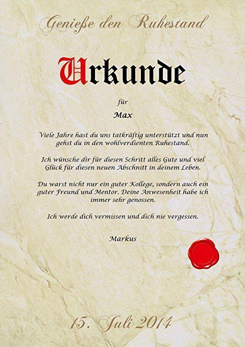Ruhestand Urkunde Personalisiert Geschenk Karte Zur Rente Abschied Berufsleben Pergament D Spruche Zum Abschied Kollegen Eiserne Hochzeit Gedichte Zur Hochzeit