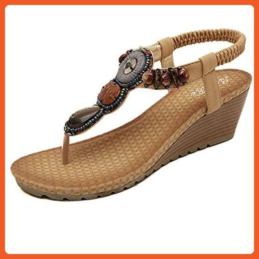 8630fc2fd4bfe Sandals For Women Flat Shoes Summer Fashion Beach Beads (36, Khaki ...