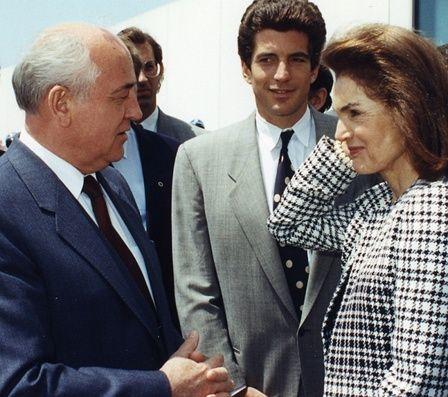 Mikhail Gorbachev with Jacqueline Kennedy Onassis and John F. Kennedy, Jr.