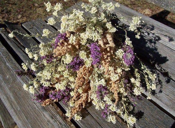 Dried Flower Bouquet. White Hoary Alyssum, Pink Astilbe, and Purple Flowers. #astilbebouquet Dried Flower Bouquet. White Hoary Alyssum, Pink Astilbe, and Purple Flowers.