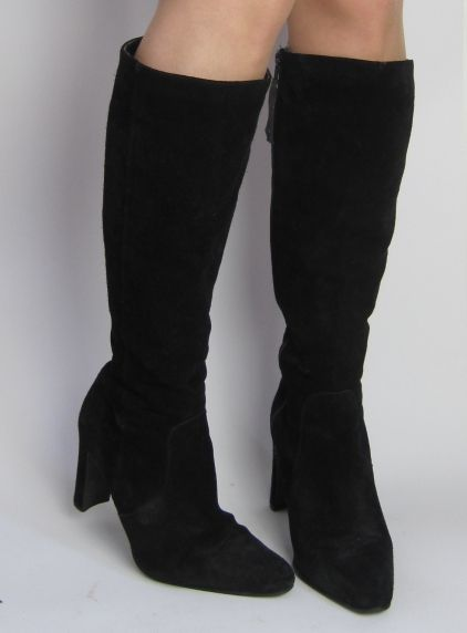 vintage 1970s black suede fitted knee high boots 163 40