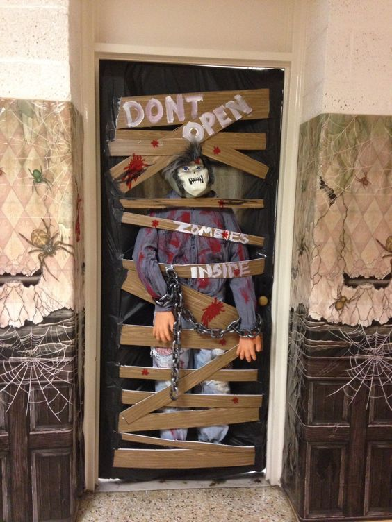 Scary Zombies Inside Door Decor Halloween Front Door Decorations Halloween Classroom Decorations Halloween Front Doors