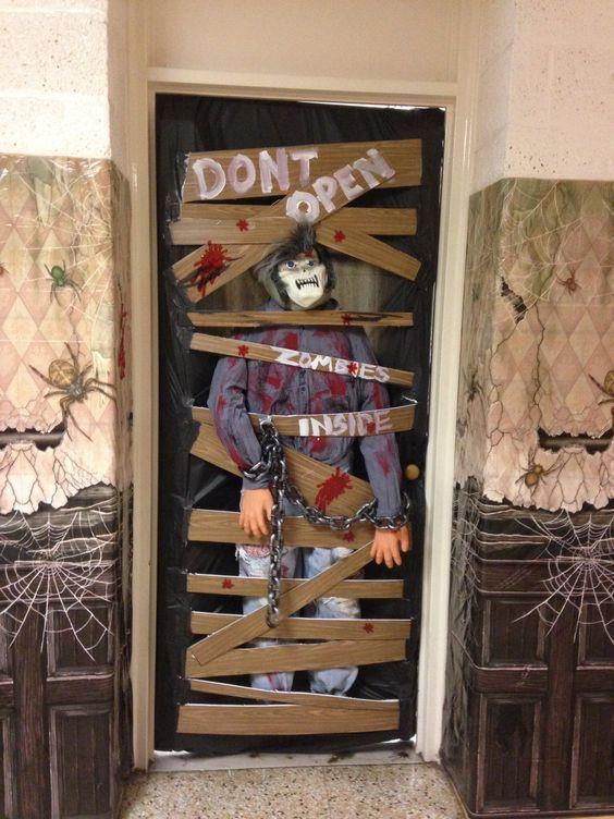 Scary Zombies Inside Door Decor Halloween Front Door Decorations Halloween Front Doors Halloween Classroom Decorations