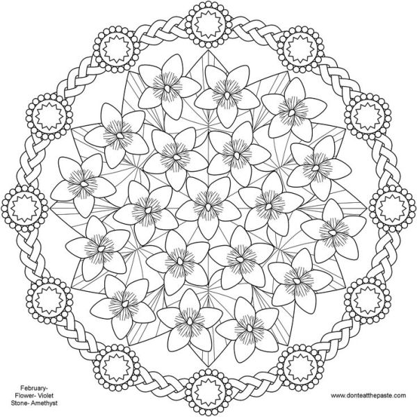 Spring Flower Mandala coloring Pages, Pattern Mandala, Free ...
