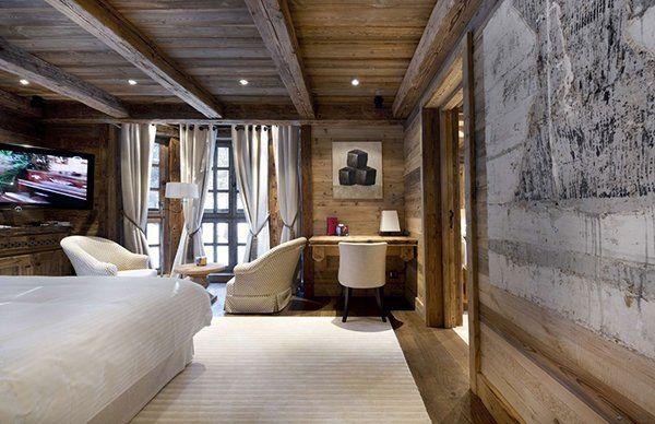 elegantes berghütte design tisch sessel teppich schlafzimmer