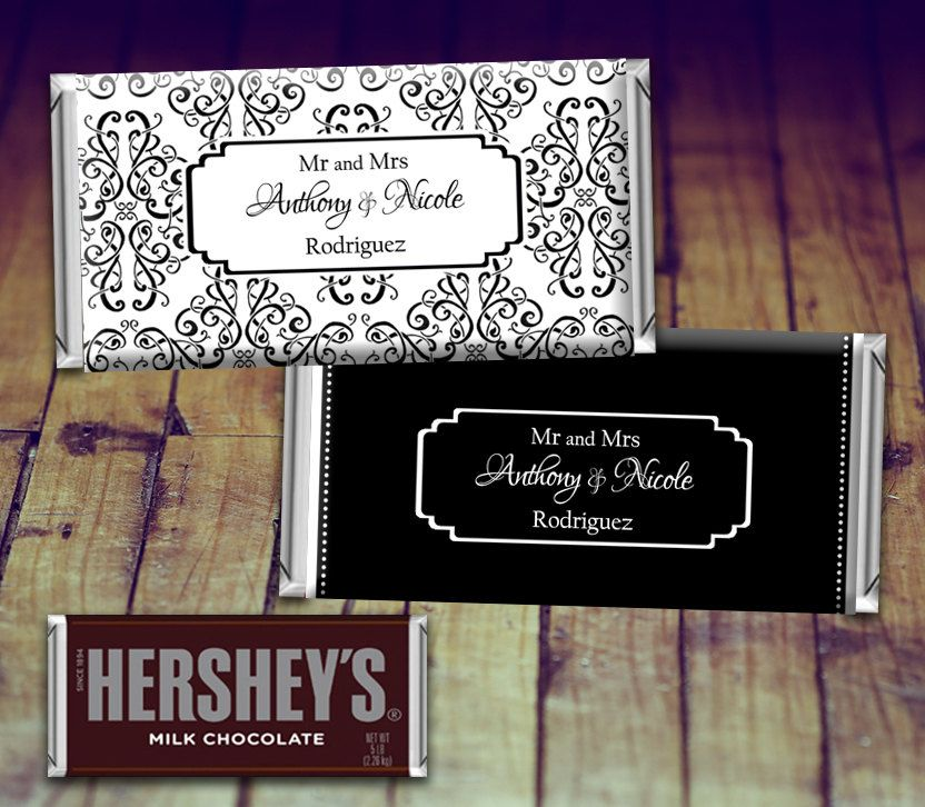 Wedding Candy Wrer Full Sized Black And White Favor Personalized Hershey