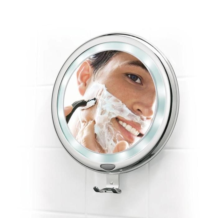 Brookstone Shaving Mirror Is Lighted And Fog Free For Use