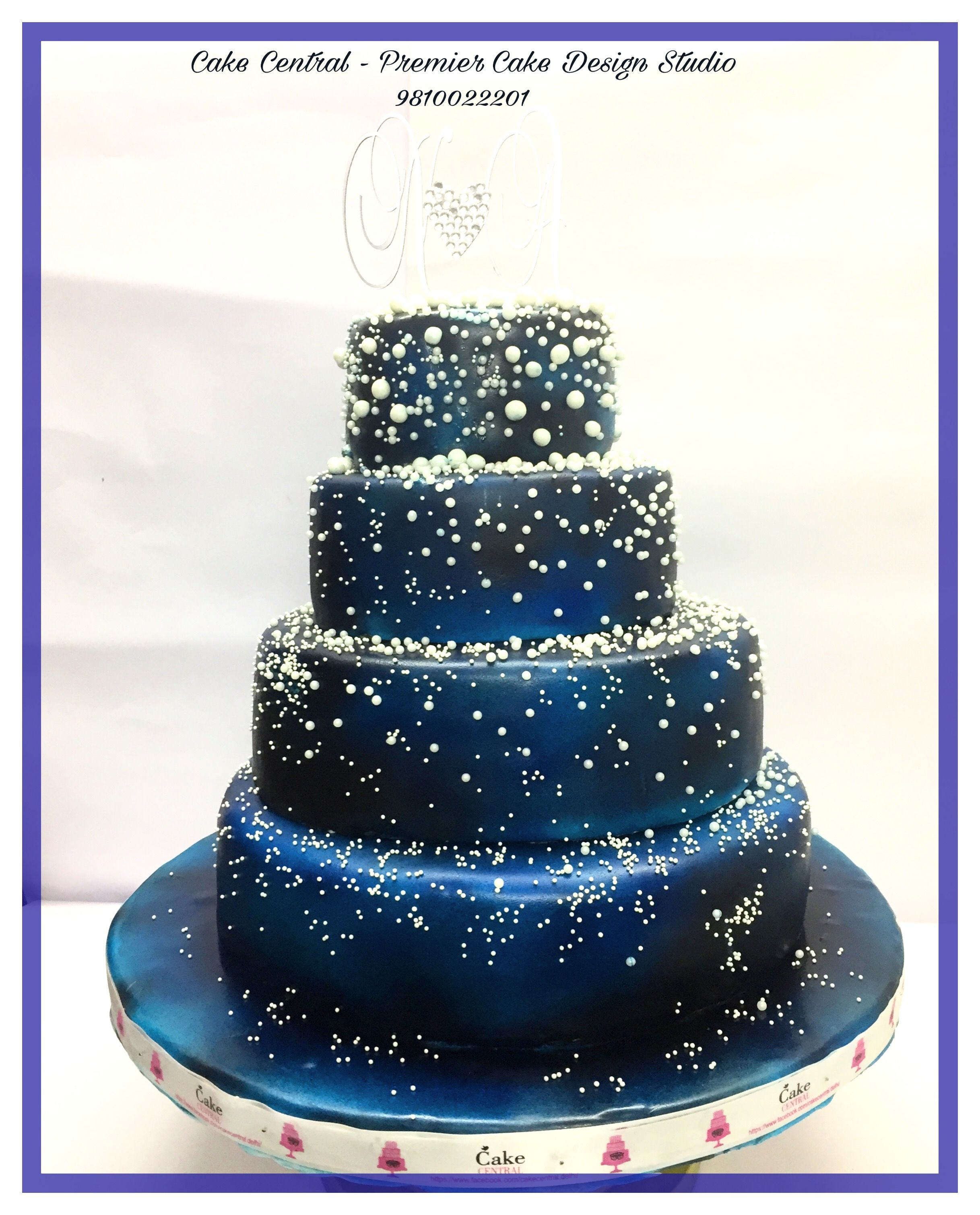 Blue Amp White Galaxy Themed Wedding Cake A 3 Tier