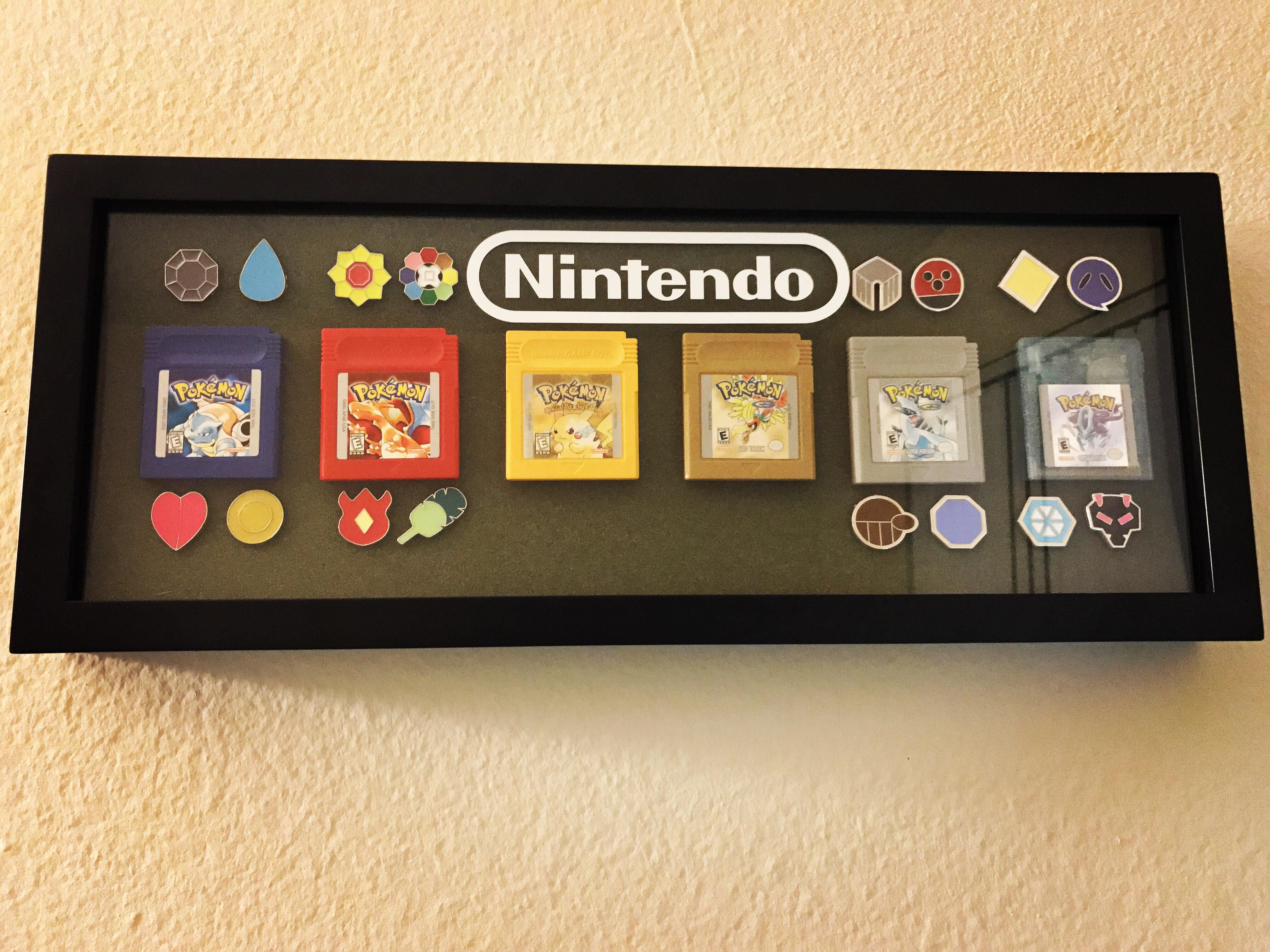 My Pokémon Gameboy Game Shadow Box with Kanto & Johto Games & Badges ...