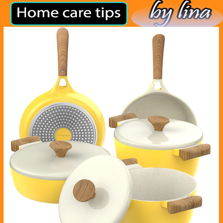 Vremi 8 Piece Ceramic Nonstick Cookware Set Induction Stovetop