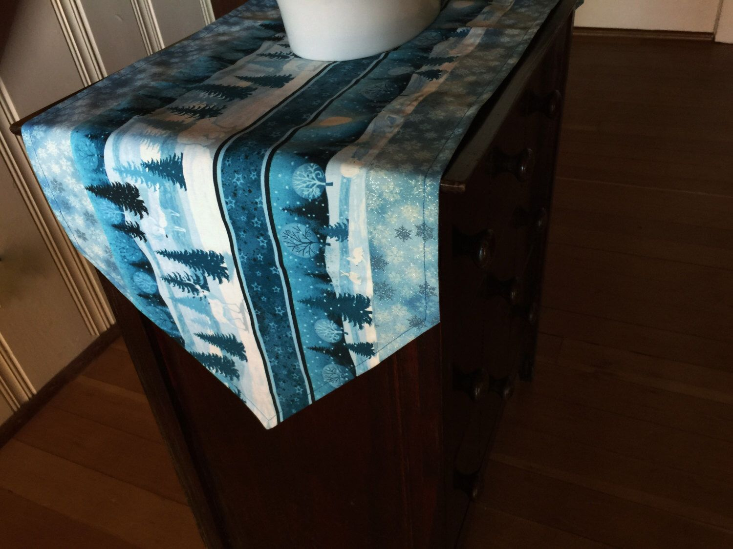 "Winter Table Runner, Handmade Winter Scene Table Runner, 42"" Cotton Snow Scene Table Runner, Teal Table Topper, Holiday Table Decor by MarlenesSewingRoom on Etsy https://www.etsy.com/listing/474340542/winter-table-runner-handmade-winter"