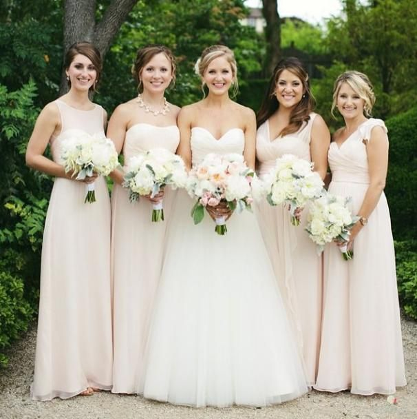 Amsale bridesmaids in various styles of #Bellini chiffon. Photo by ...