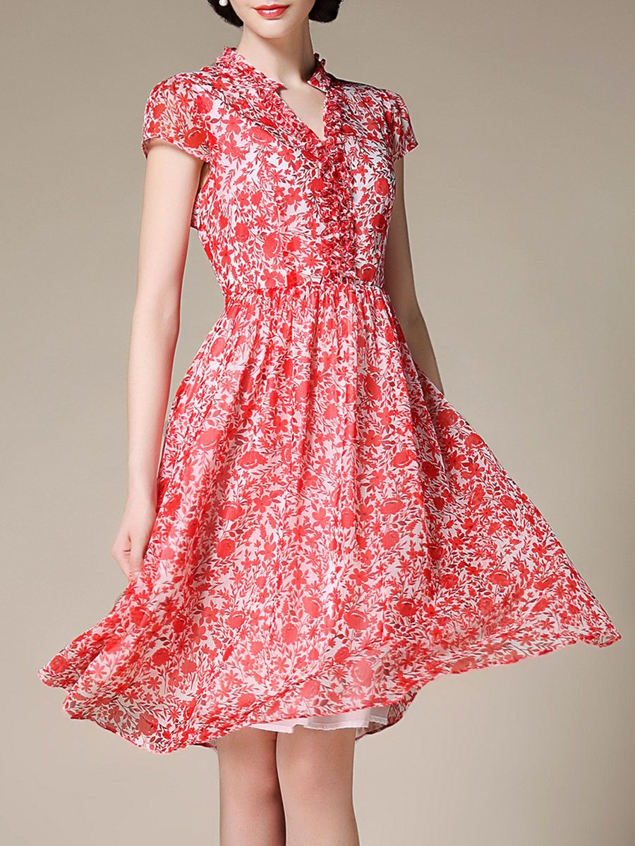 2a0703e1056 Shop Midi Dresses - Chiffon Short Sleeve Casual V Neck A-line Midi Dress  online. Discover unique designers fashion at StyleWe.com.
