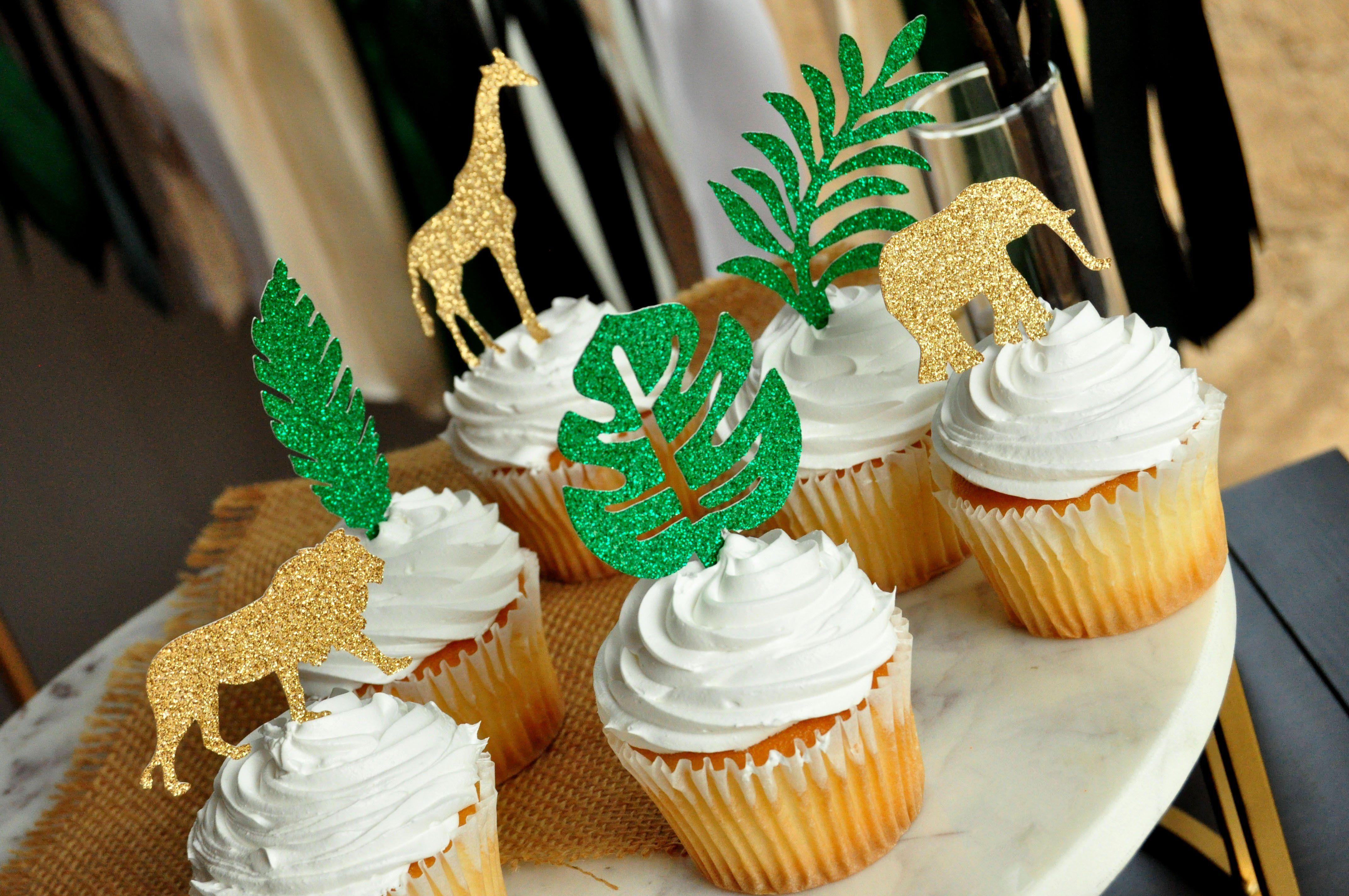 12 Wild One Gold Food Toppers Wild Safari Birthday Party Cupcake Toppers Baby Shower Safari Jungle Party Animals with Hats Cupcake Picks