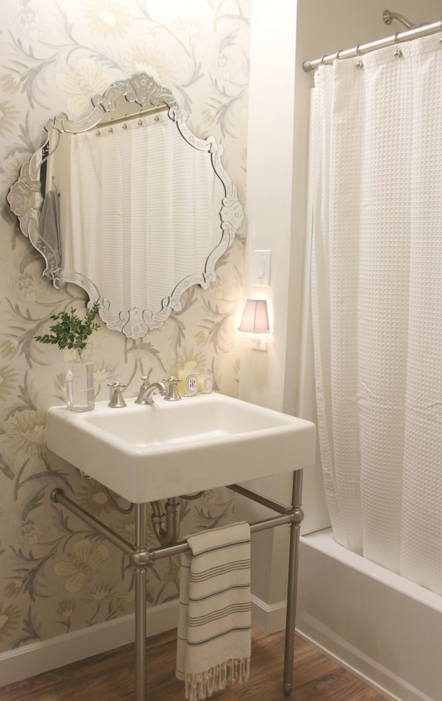 Classic Bathroom With Modern Farmhouse Fireclay Console Sink By DXV.  Wallpaper Is Thibaut. Venetian