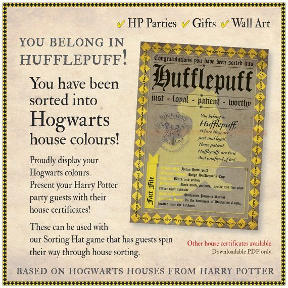 Hufflepuff Sorting Hat Certificate By Mishydee On Etsy Harry
