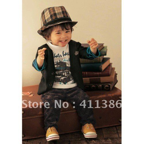 Cool Baby Boy Clothes Lot Baby Boys T Shirt Pants Fake 3 Pcs