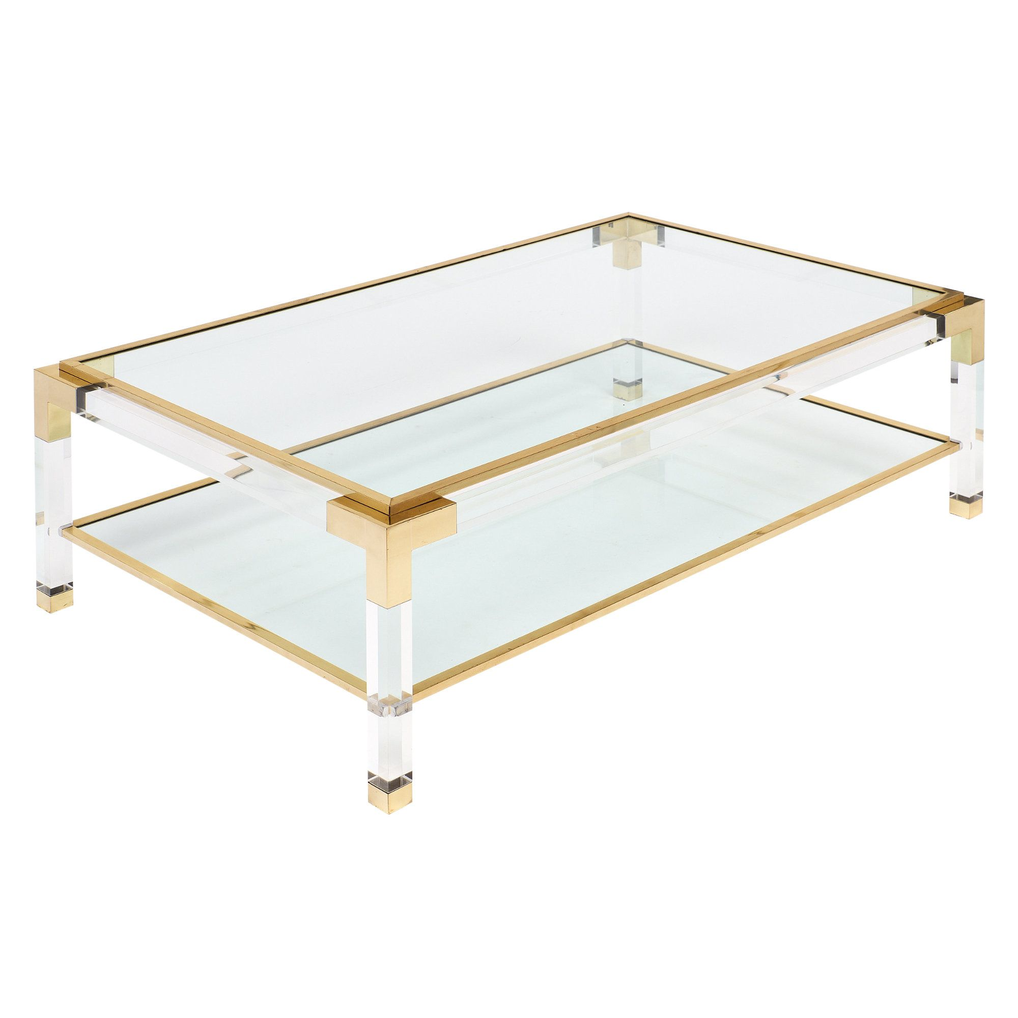 Brass And Lucite French Coffee Table - Jmf #Lucite #Vintage