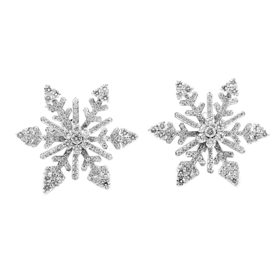 Van Cleef Arpels Diamond White Gold Snowflake Clip On Earrings 1stdibs