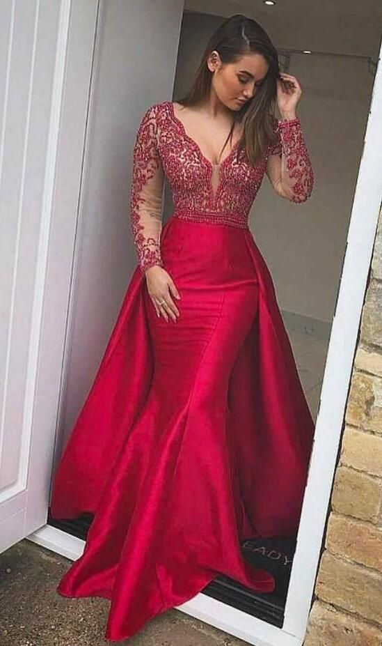 Long Sleeves Prom Dress,Mermaid Evening Dresses ,Beaded Prom Dress,V ...