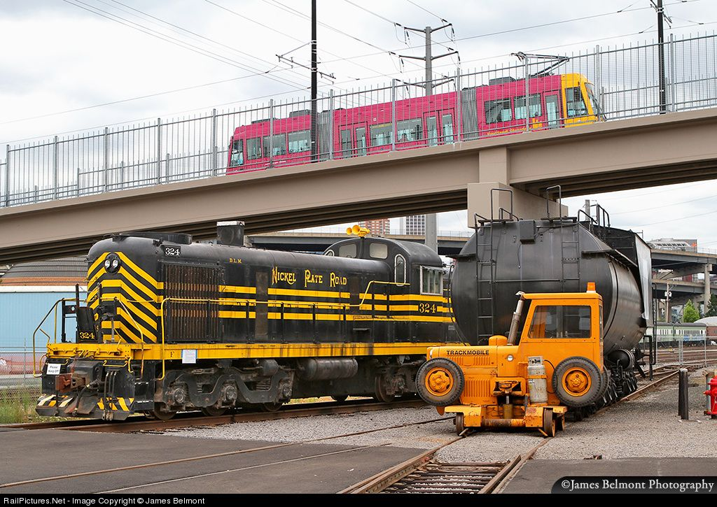 An interesting array of railroad equipment meet at the