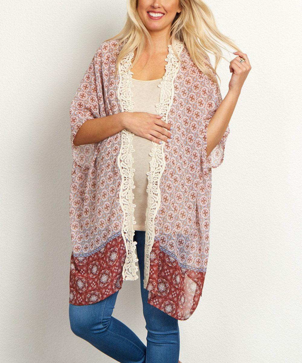 PinkBlush Rust & Lilac Sheer Crochet Maternity Kimono | Kimono ...