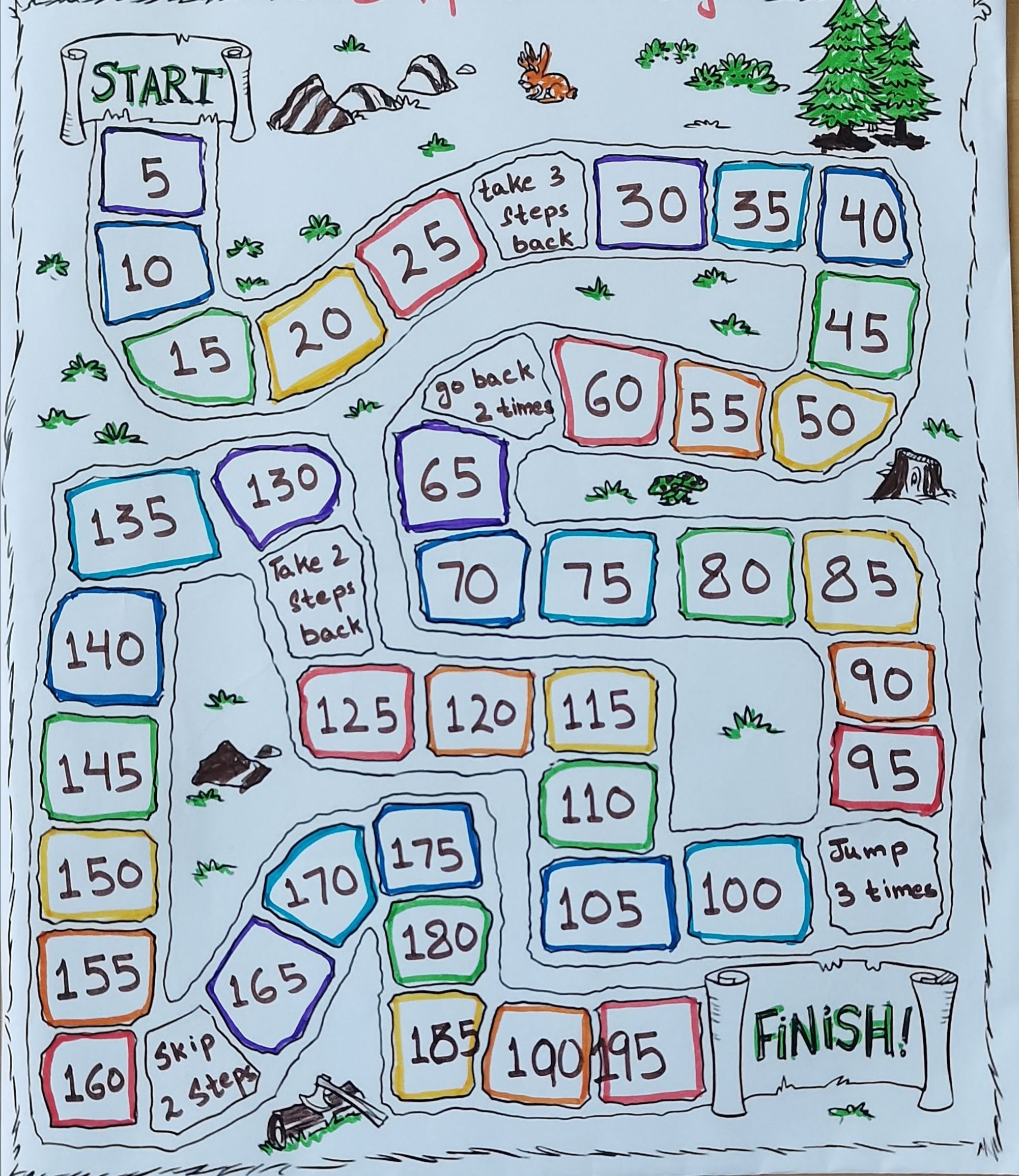 Obstacle Board Game-DIY-Skip Counting by 5
