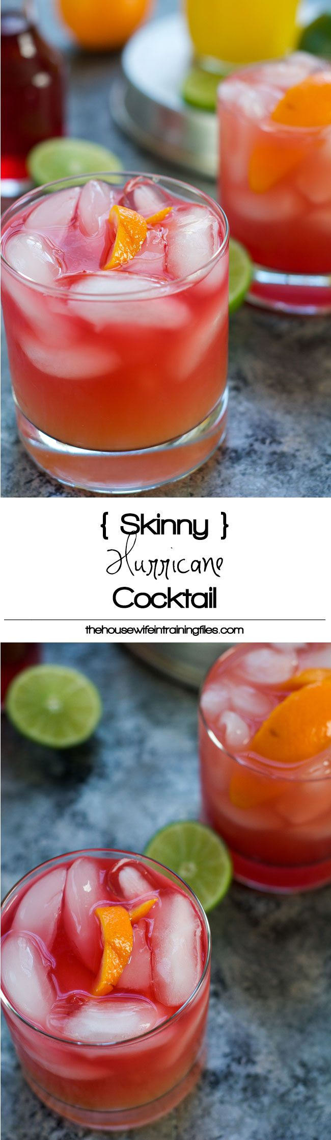 This Skinny Hurricane Cocktail is a healthier version of the classic Mardi Gras drink is filled with orange and cranberry juice and finished with light rum for a refreshing cocktail! #MardiGras #Skinny #Cocktail #Beverage #hurricanefoodideas