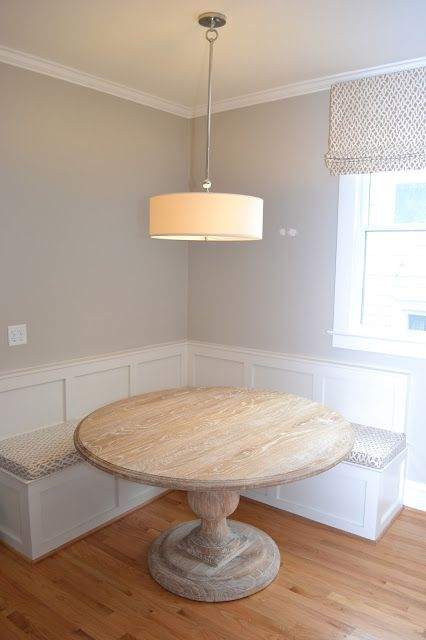 eat in kitchen seating with round wood table lucy williams design - Built In Kitchen Table