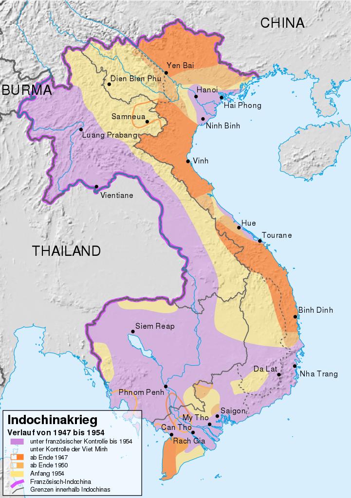 Indochina First Indochina War Map Vietnam