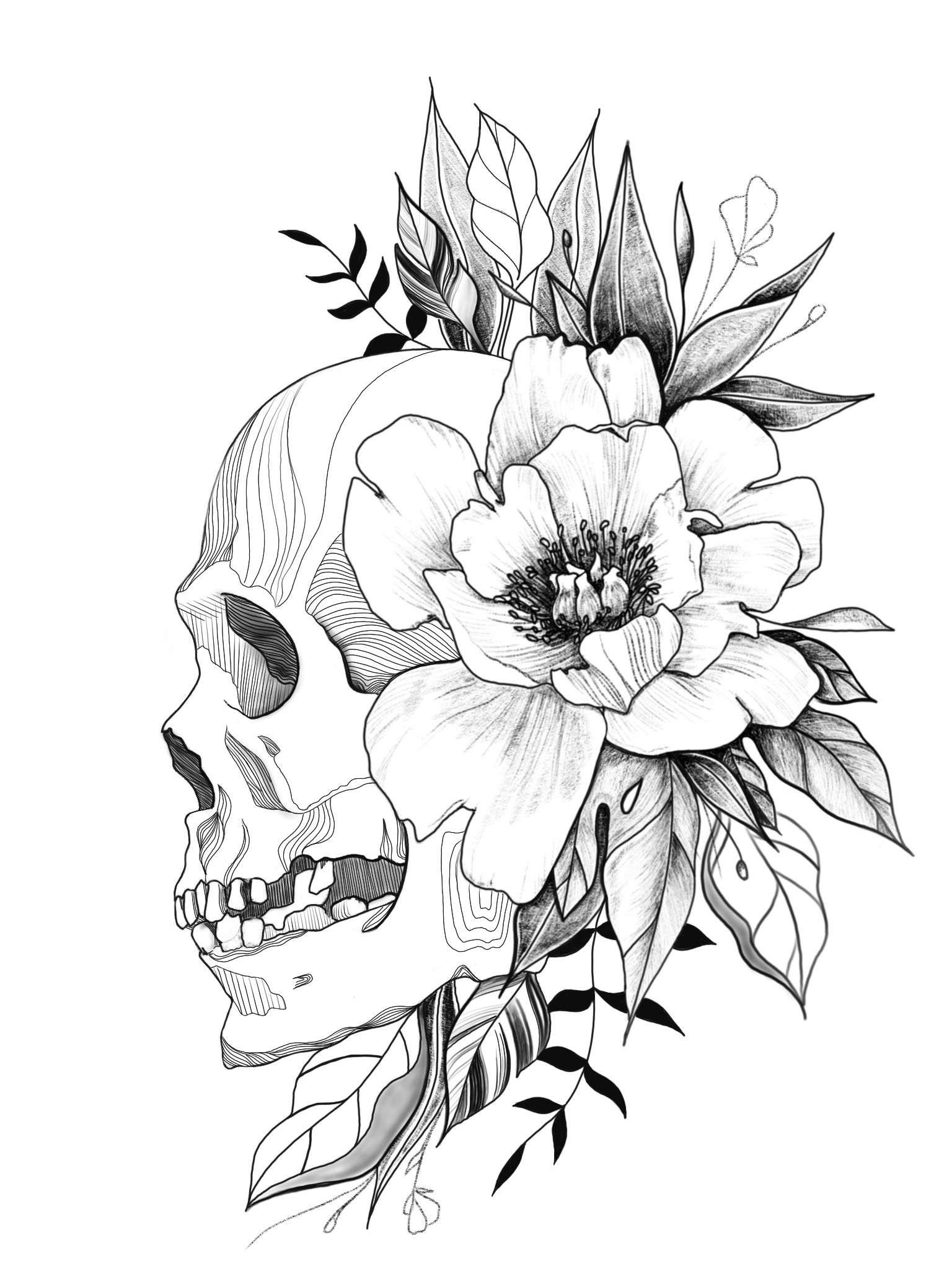 Skull And Floral Tattoo Design By Morgansierraart Floral Skull Tattoos Skull Tattoo Flowers Floral Tattoo Design