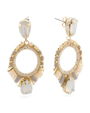 Open Detail Rhinestone Drop Earrings