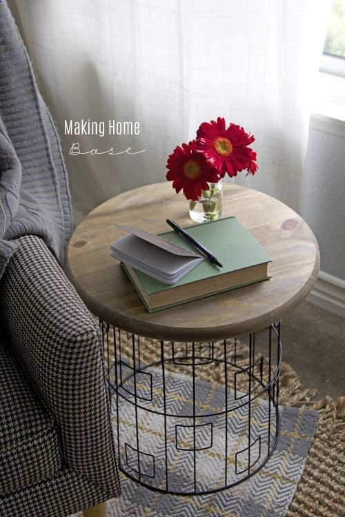 DIY Accent Table   Wire Laundry Basket Turned Upside Down + Round Top  (could Use