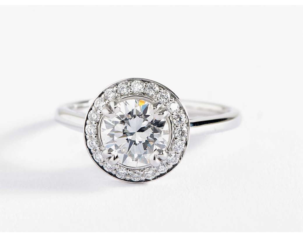 Plain Shank Halo Engagement Ring In Platinum