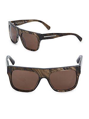 Giorgio Armani 55MM Printed Wrap Sunglasses - Dark Brown - Size No Siz