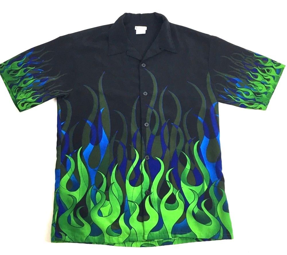 5d8e600cb No Boundaries Mens S Black Button Front Short Sleeve Hot Rod Green Flames  Shirt  NoBoundaries  ButtonFront