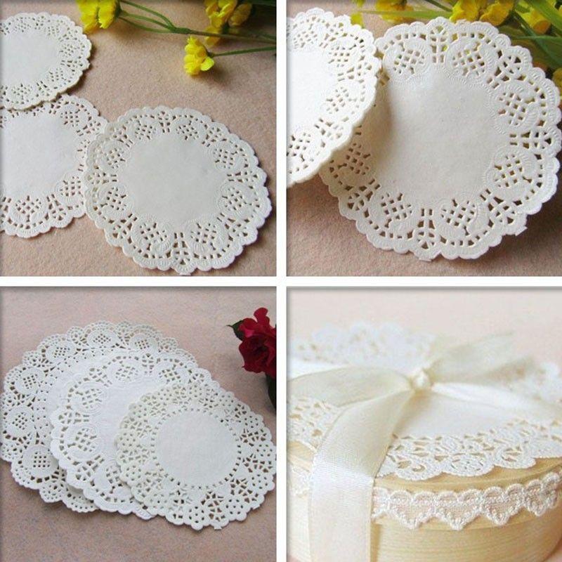 100 Pcs 3588mm White Round Lace Paper Doilies Wedding Table Decoration