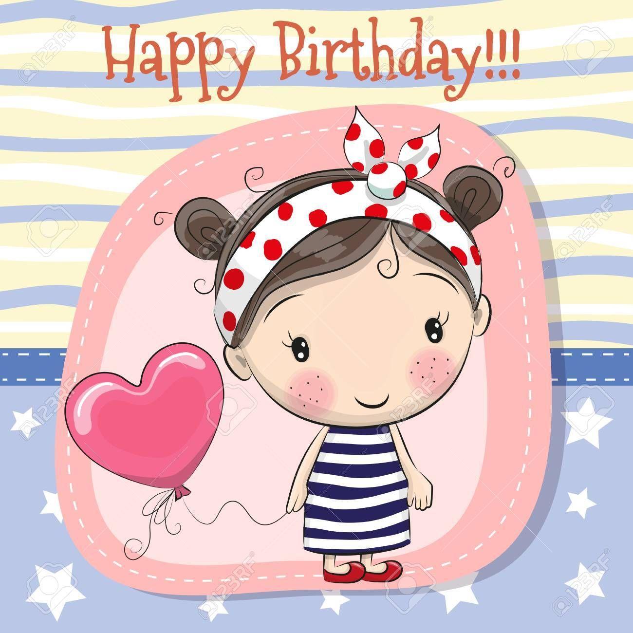 Stock Vector Birthday cartoon, Cute cartoon girl, Girl