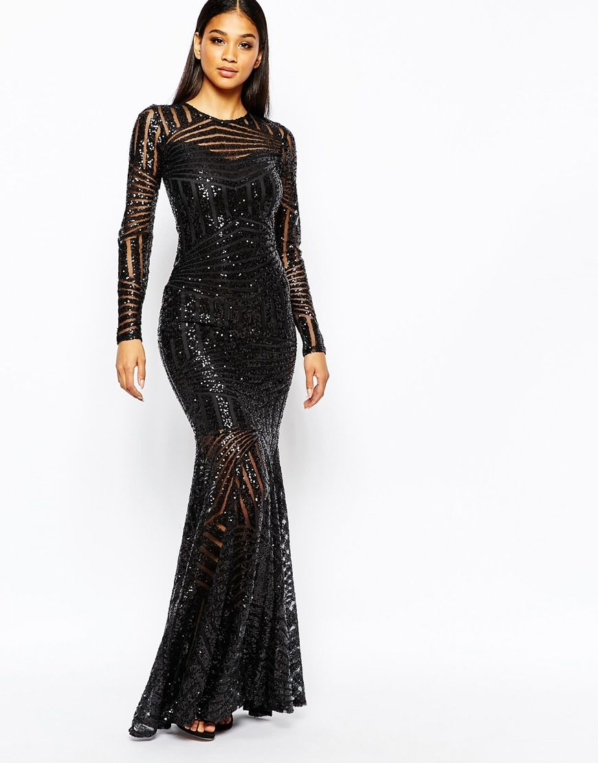 dd97428ea7b Image 1 of Club L All Over Sequin Fishtail Maxi Dress