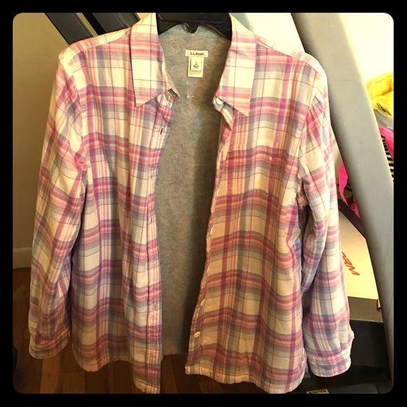 Fleece Lined Shirt/jacket Cozy LL Bean fleece lined shirt S Tops Button Down Shirts