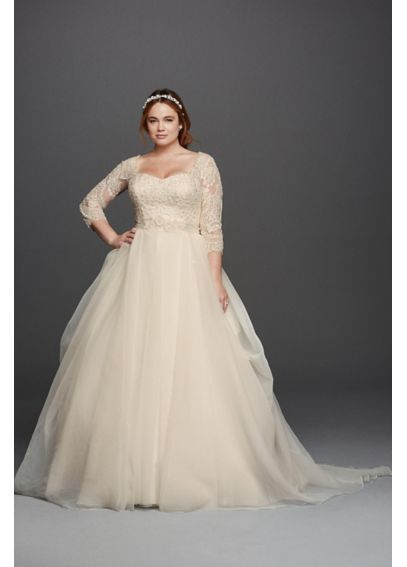 Oleg Cassini Plus Size Organza 3/4 Wedding Dress 8CWG731 | Plus Size ...
