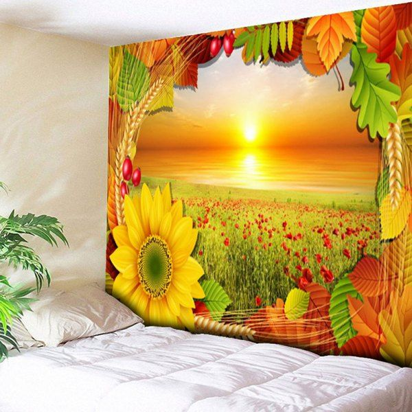 Chrysanthemum Wall Hanging Flower Field Tapestry - Yellow - W59 Inch ...