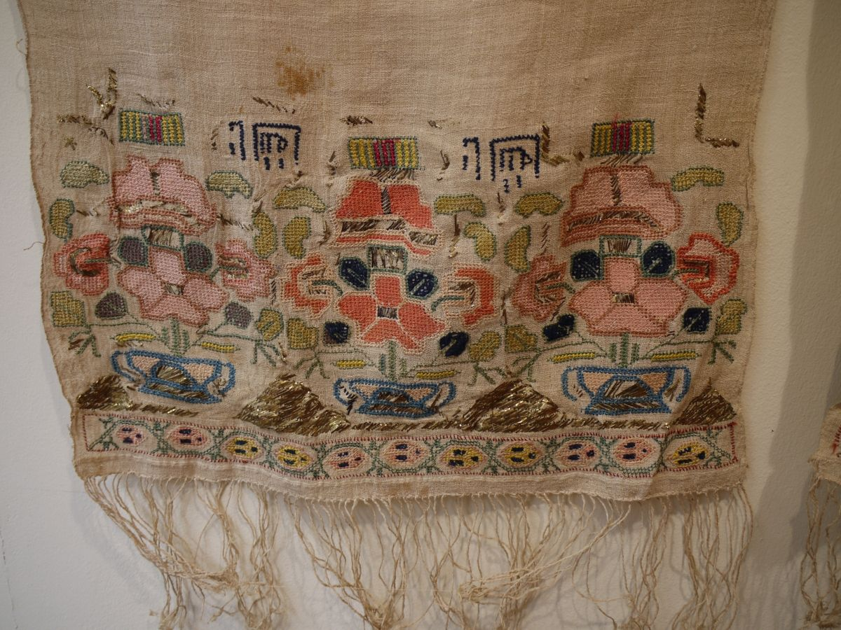 """Antique Ottoman Turkish """"towel"""" mid 19C size 250 x 40 cm. Complete piece cotton ground embroidered with silk and gold thread. Has some stylised writing which is unusual also note the patterns in  ..."""