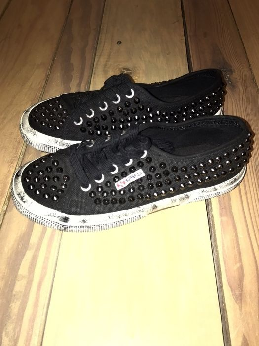 My Superga black sneakers with silver studs  by Superga! Size 6.0 for $$35.90. Check it out: http://www.vinted.com/womens-shoes/sneakers/21437035-superga-black-sneakers-with-silver-studs.